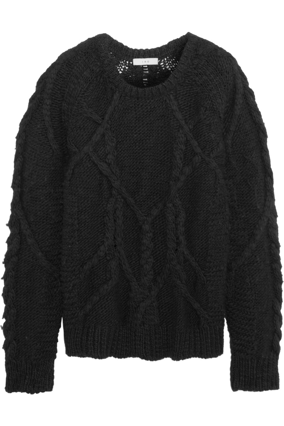 Iro Benita Cable-Knit Merino Wool Sweater in Black | Lyst
