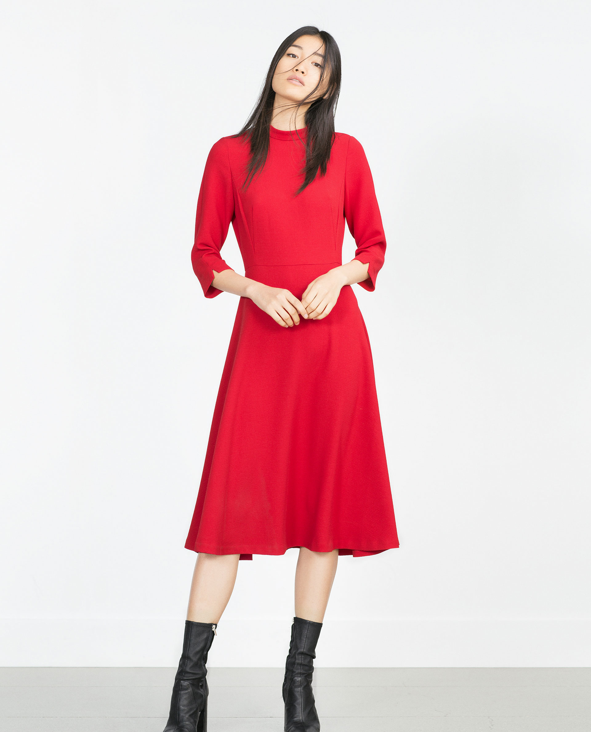 Zara High Neck Dress in Red - Lyst