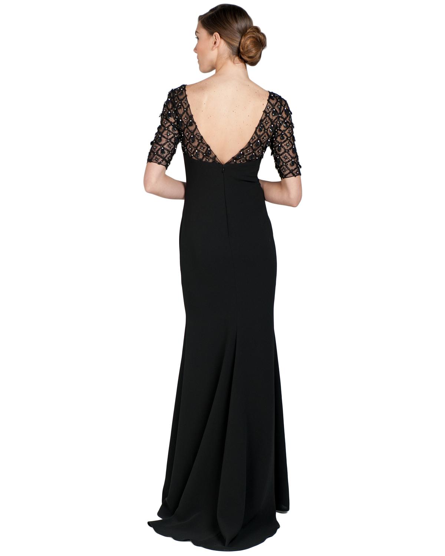 badgley mischka raglan beaded sleeve evening gown in black