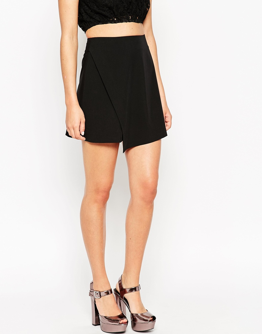 asos a line wrap mini skirt in black lyst
