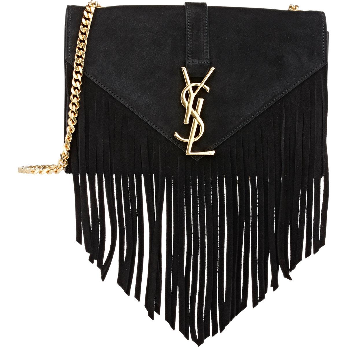 7b60163948c6 Saint laurent Women  39 s Fringed Monogram Shoulder Bag in Black (BLACK