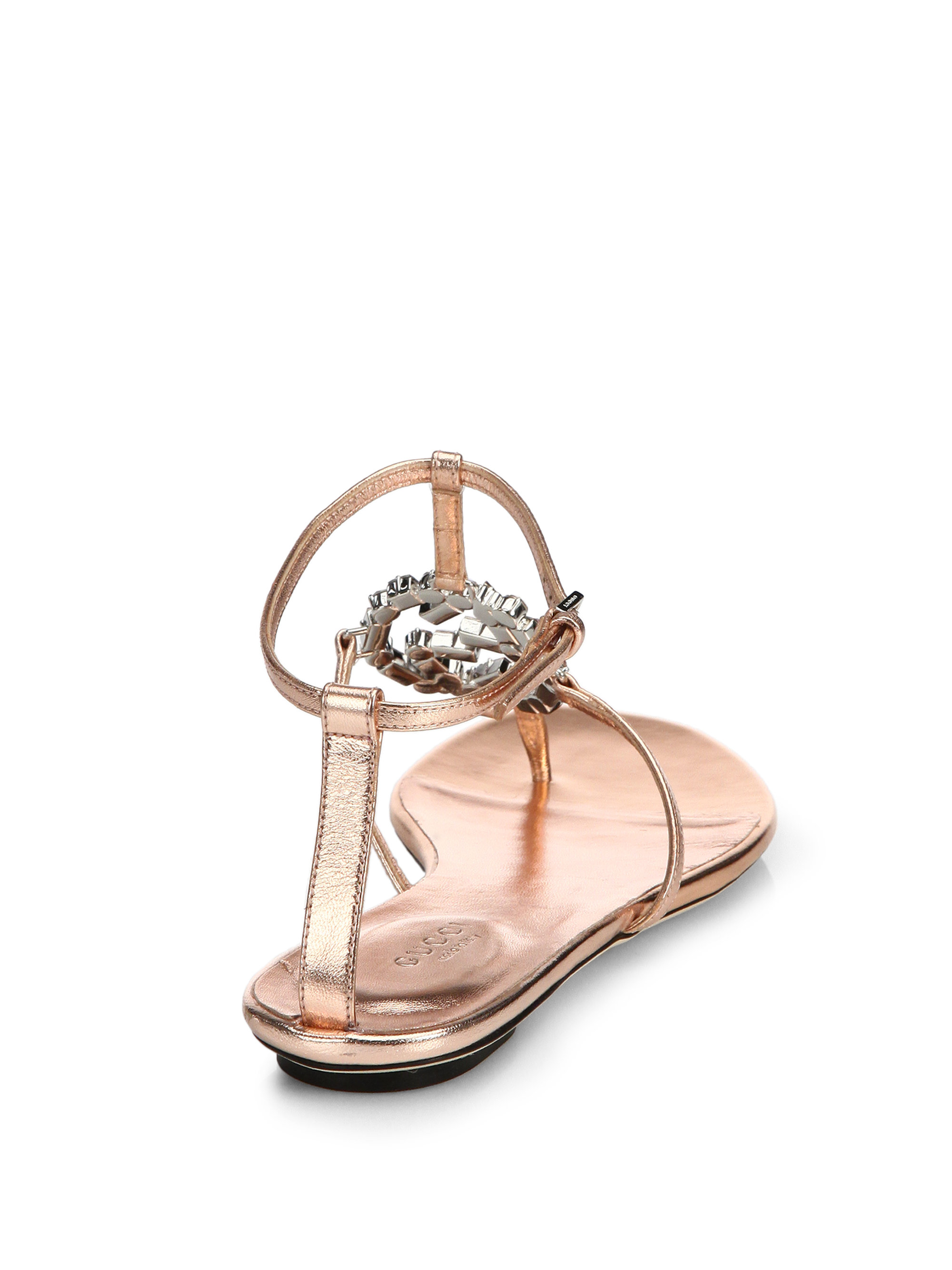 9eb63a2b39a7 Lyst - Gucci Gg Sparkling Crystal   Leather Sandals in Pink