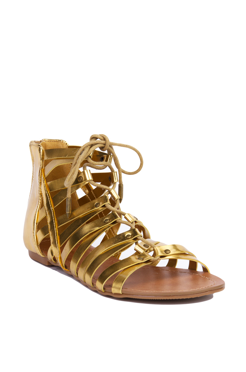 Akira Strappy Gladiator Lace Up Gold Sandals In Metallic