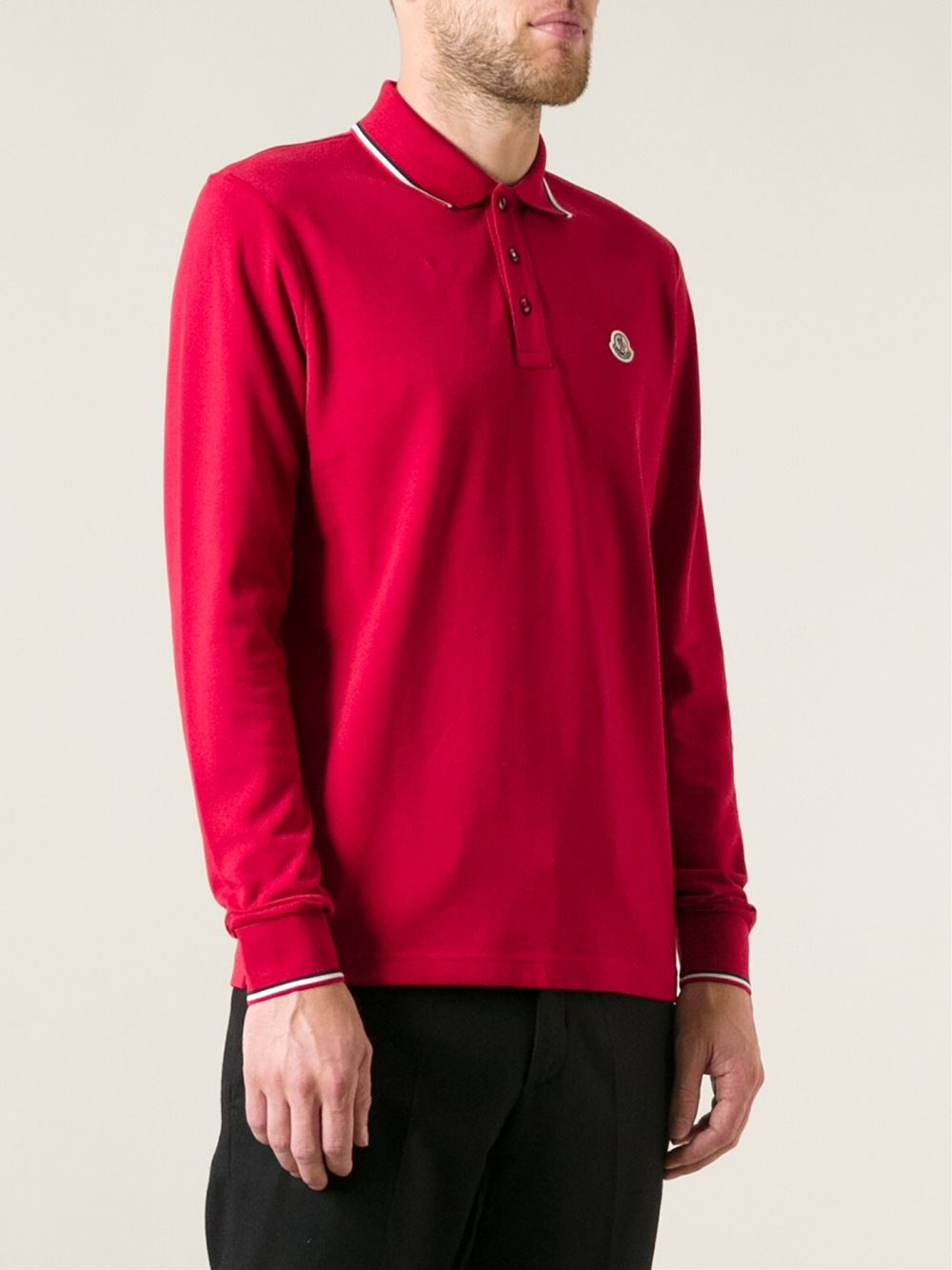 Lyst Moncler Long Sleeve Polo Shirt In Red For Men