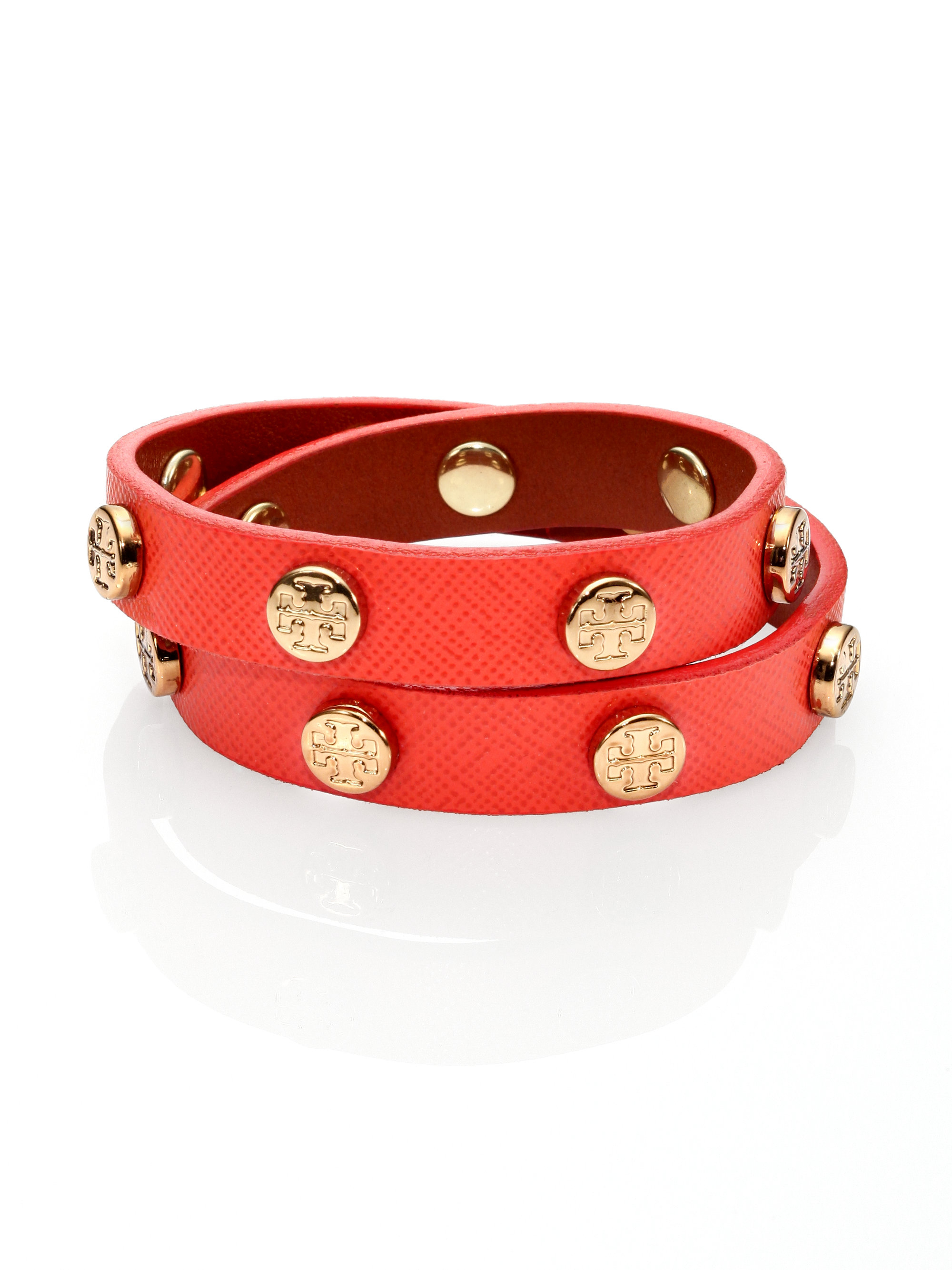 Tory Burch Women's Red Logo Stud Saffiano Leather Double-wrap Bracelet