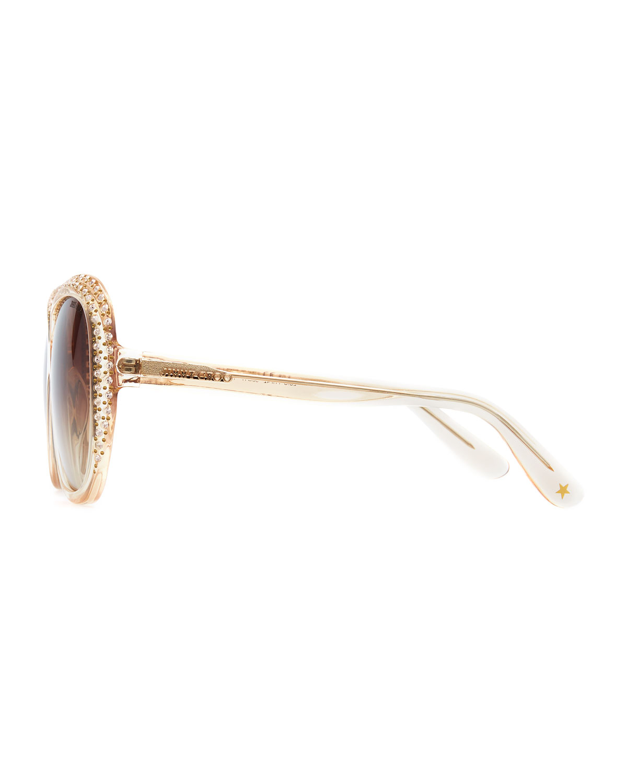 e2e7567ea48 Lyst - Jimmy Choo Lu Crystal Sunglasses Nude in Natural