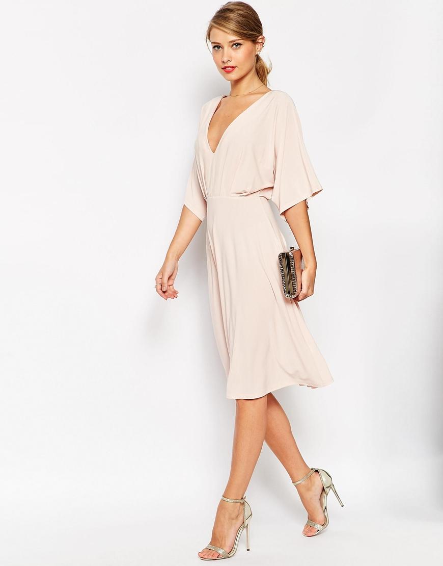 Lyst Asos Petite Kimono Plunge Midi Dress In Natural