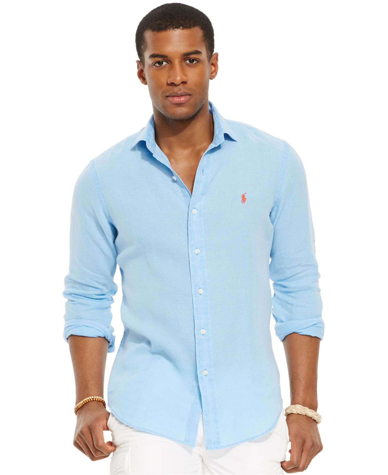 polo ralph lauren linen sport shirt in blue for men lyst