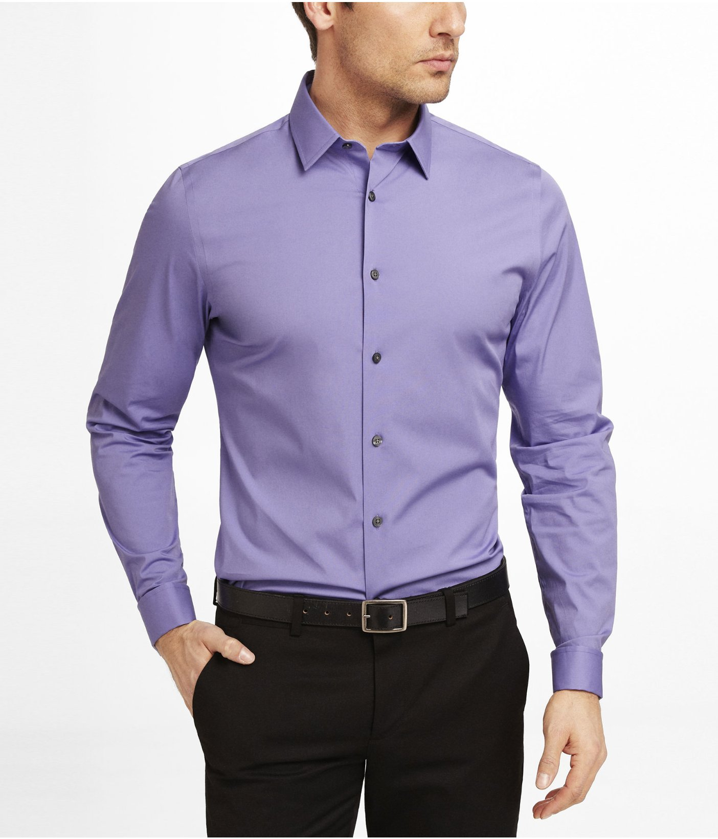 Lyst Express Fitted 1mx French Cuff Shirt In Purple For Men