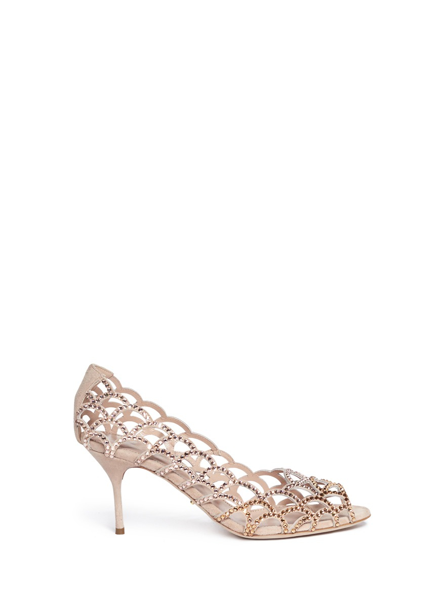 522d3c60673 Lyst - Sergio Rossi Mermaid Crystal Cutout Pumps in Natural