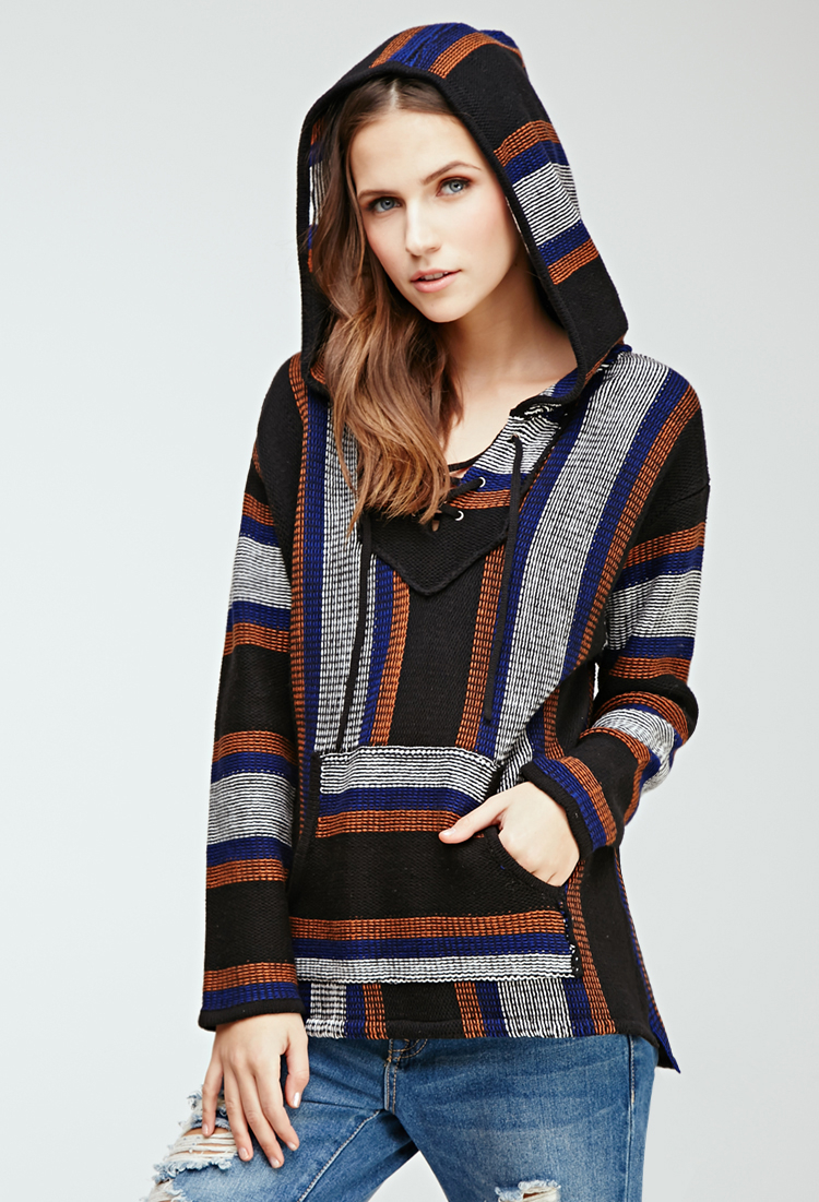 Forever 21 Cotton Lace Up Striped Baja Hoodie You Ve Been
