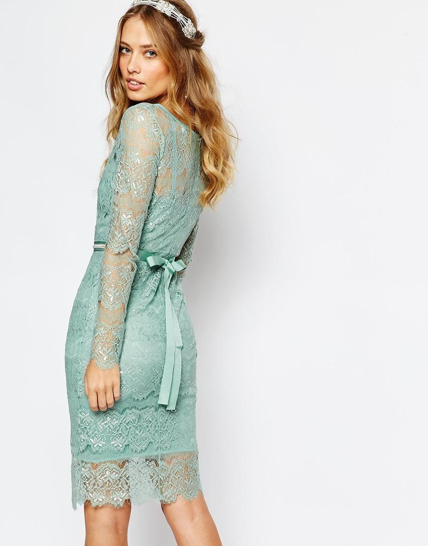 Frock wedding primrose embellished waist dress in mint in green lyst