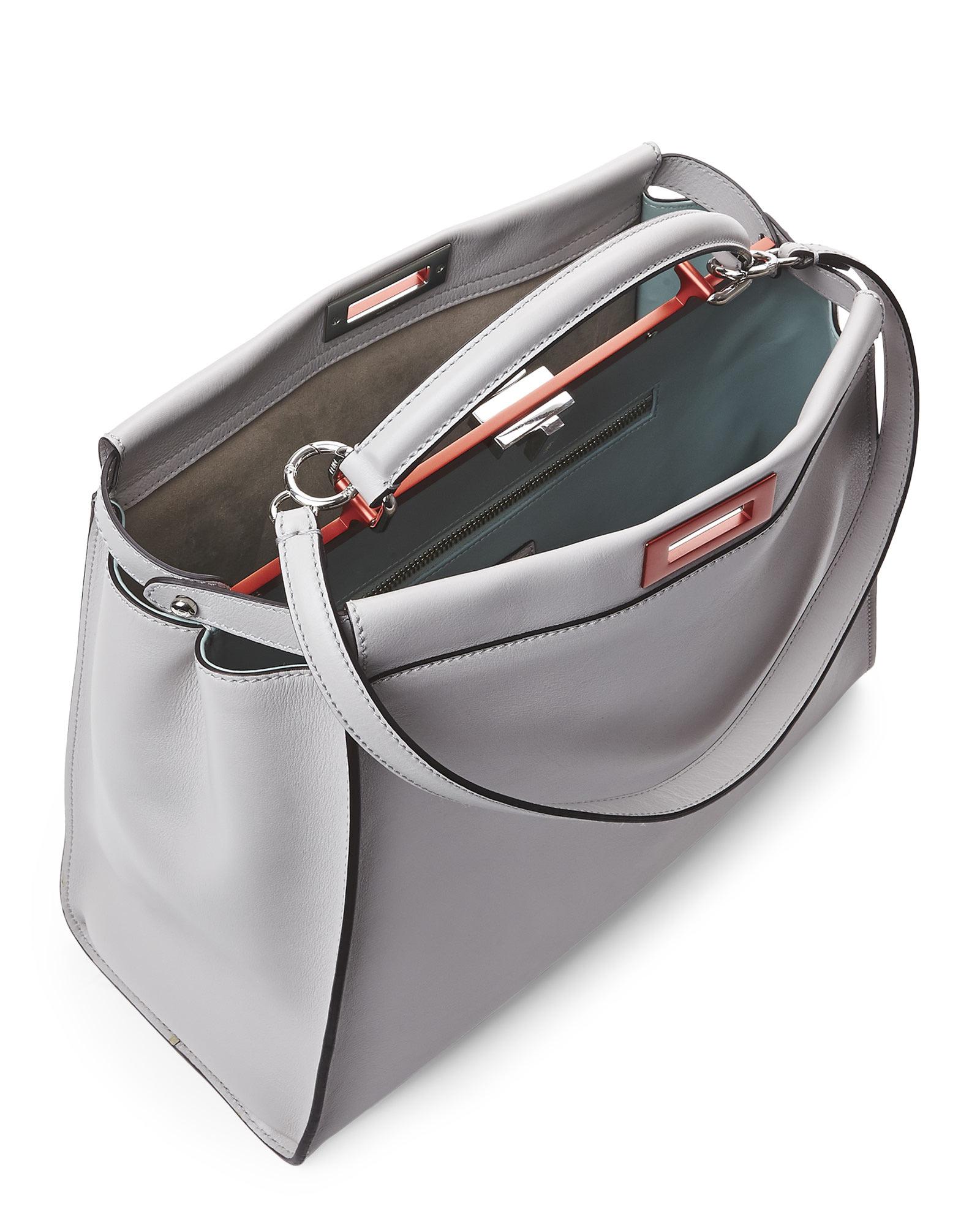2c4d0d35e9c8 france kan i studs pearl gray leather shoulder bag fendi 3639d 34737  50%  off lyst fendi grey large peekaboo tote in gray 79f96 64571