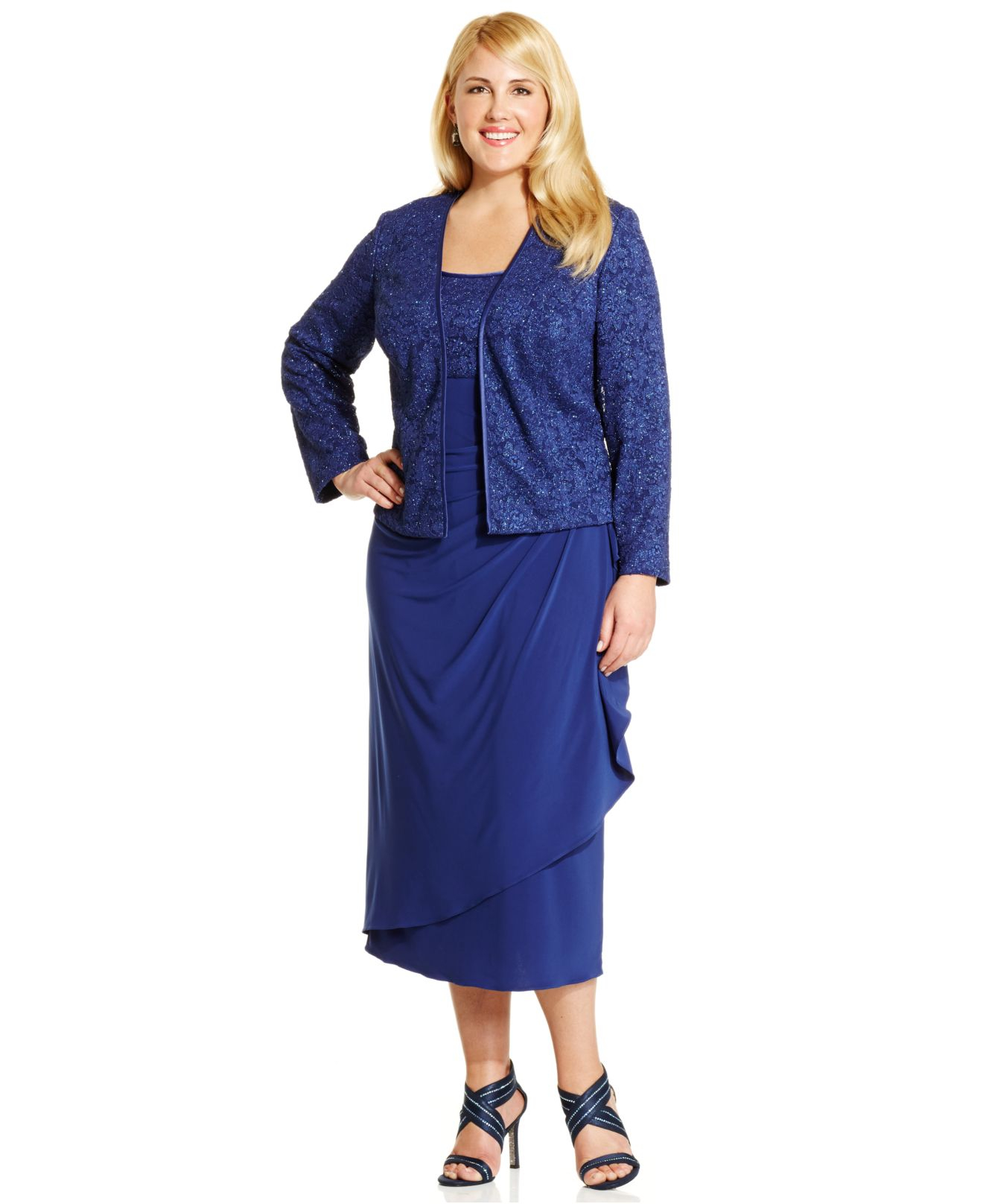 Alex evenings Plus Size Lace A-line Dress And Jacket in Blue | Lyst