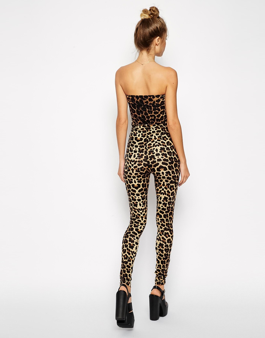 7a429b52afea Lyst - ASOS Bodyfit Jumpsuit With Sweetheartneck In Leopard Print