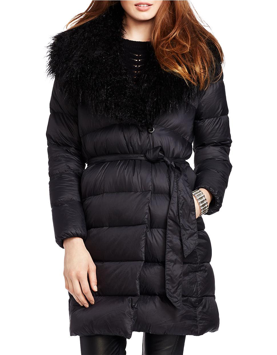 Lauren By Ralph Lauren Faux Fur Trimmed Quilted Down Wrap