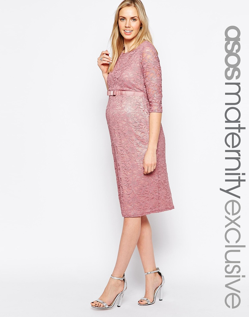 Lyst Asos Maternity Lace Bodycon Dress With 3 4 Sleeve