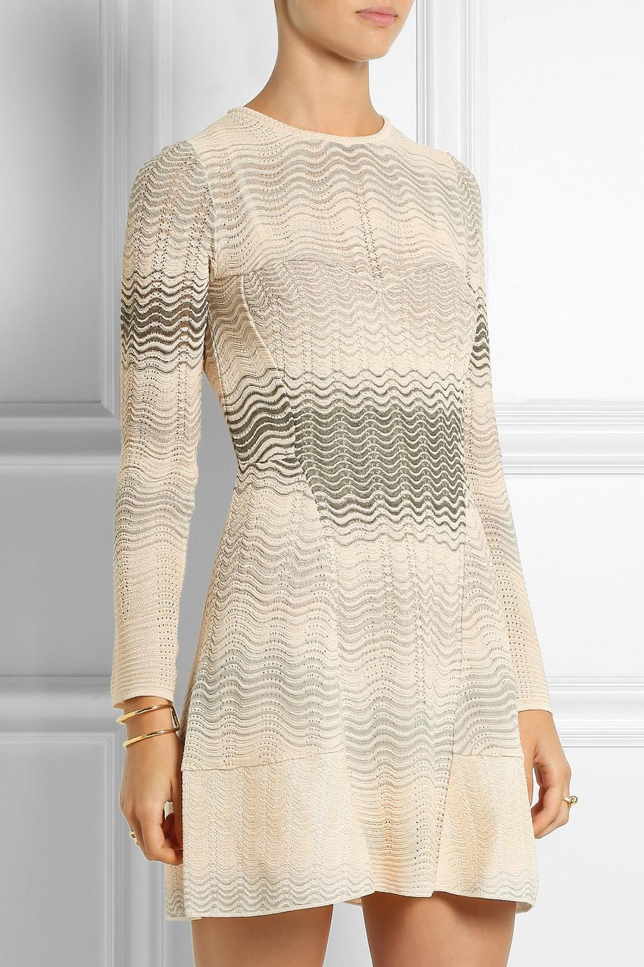 fe64a528eb38c6 M Missoni Crochet-Knit Mini Dress in White - Lyst