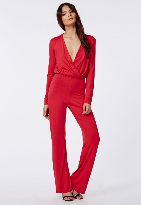 Missguided Deliana Long Sleeved Wrap Wide Leg Jumpsuit Red in Red ...
