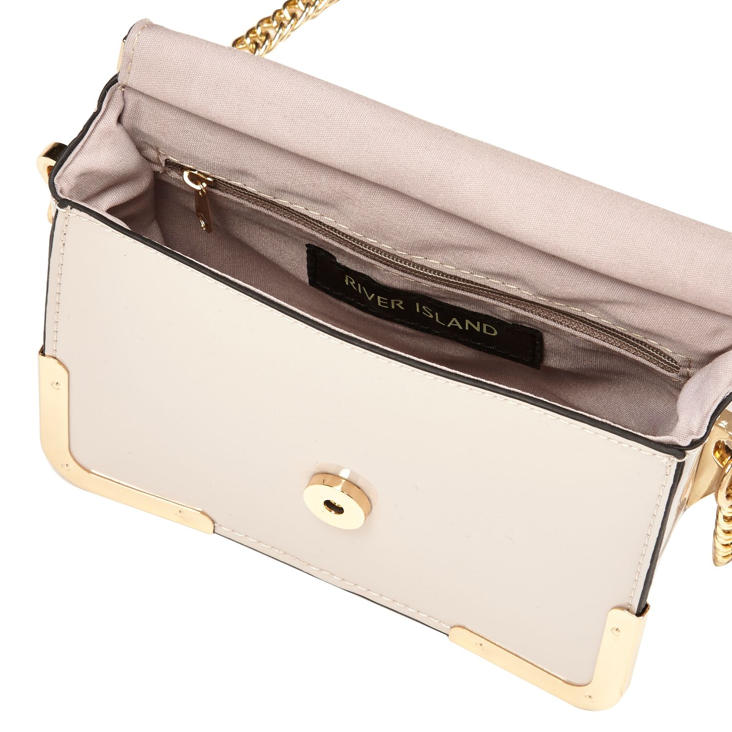 River Island Light Grey Patent Luggage Tag Cross Body Bag in Grey