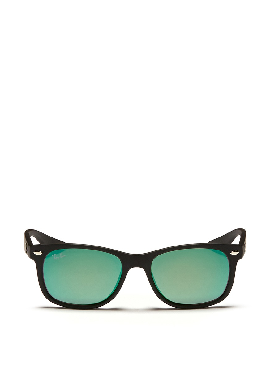 Lyst ray ban new wayfarer junior 39 matte plastic mirror for Mirror sunglasses
