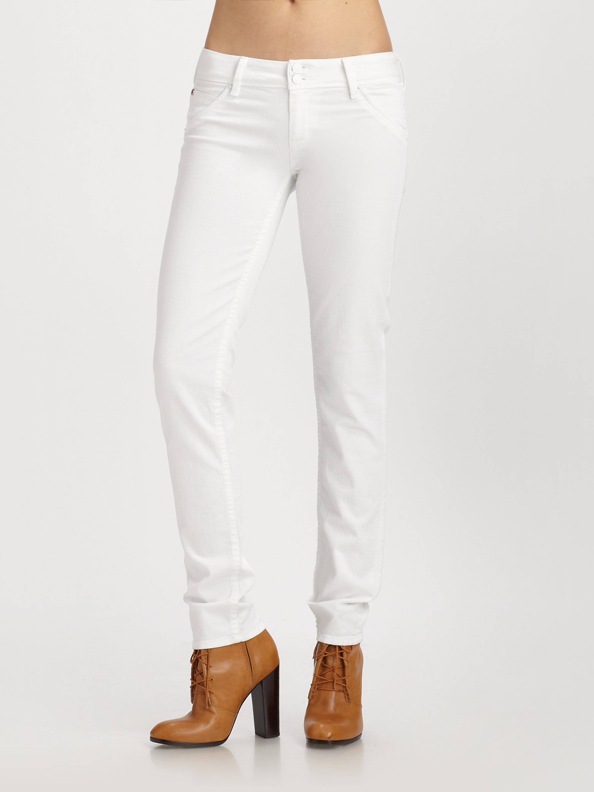 Hudson jeans Collin Skinny Jeans in White | Lyst