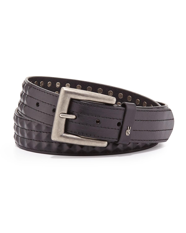 6d08975907bc74 Lyst - John Varvatos Leather 38mm Studded Belt in Black for Men