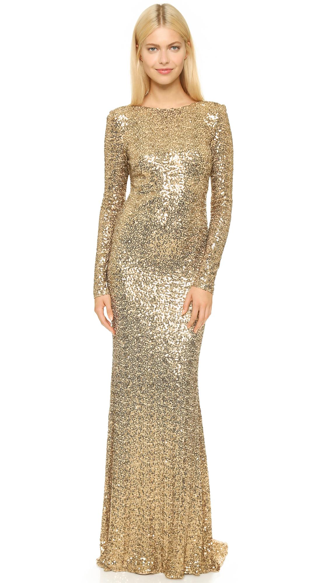 Lyst - Badgley Mischka Long Sleeve Sequin Gown - Gold in Metallic