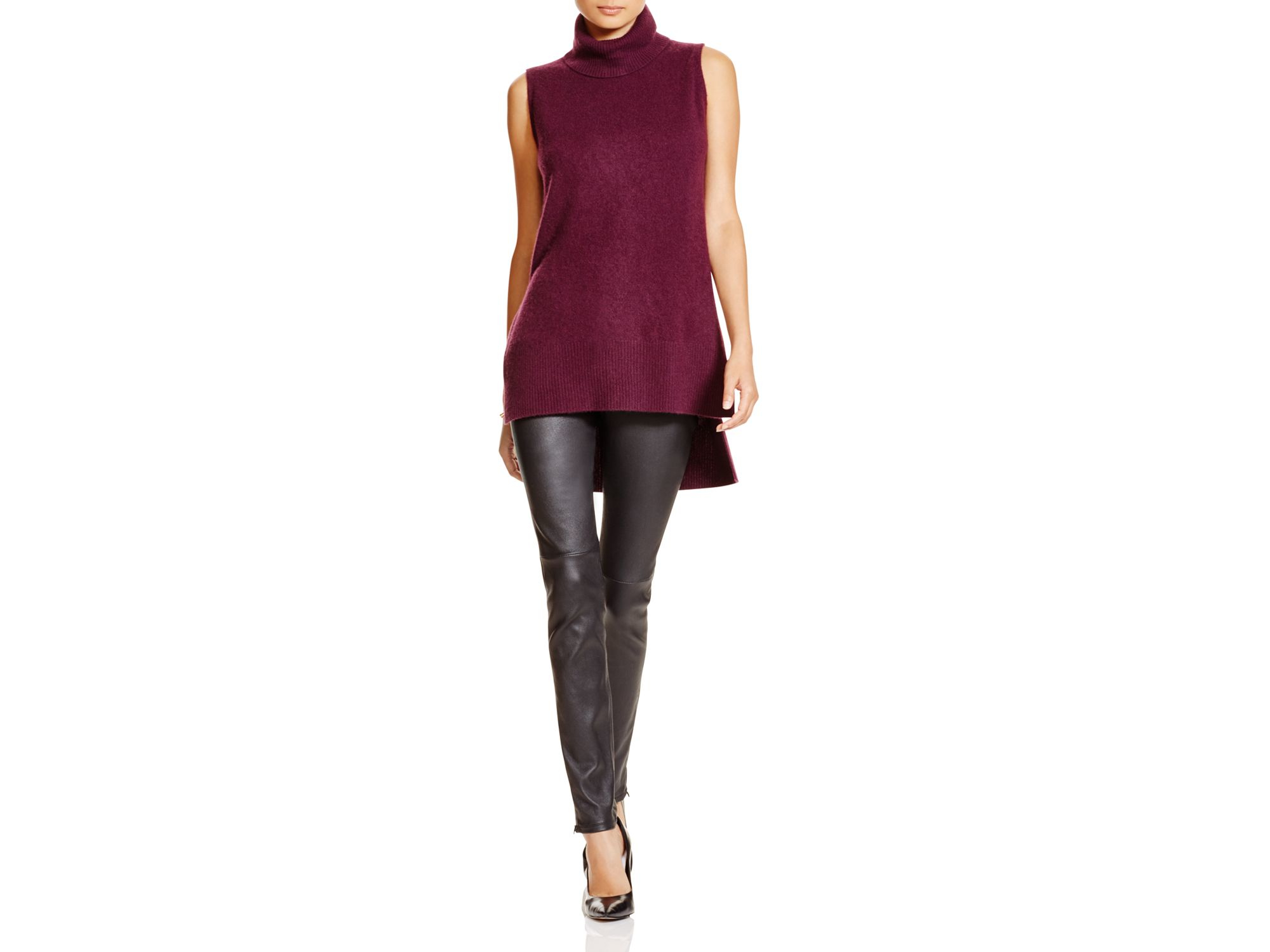 Aqua Cashmere Cashmere Turtleneck High Low Sleeveless Sweater in ...
