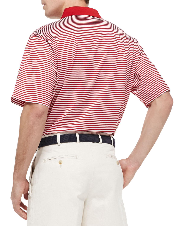 Lyst peter millar nebraska striped gameday college polo for Peter millar polo shirts