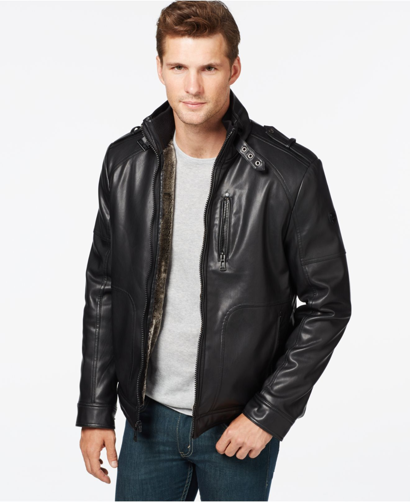 Calvin Klein Faux Leather Jacket In Black For Men Save