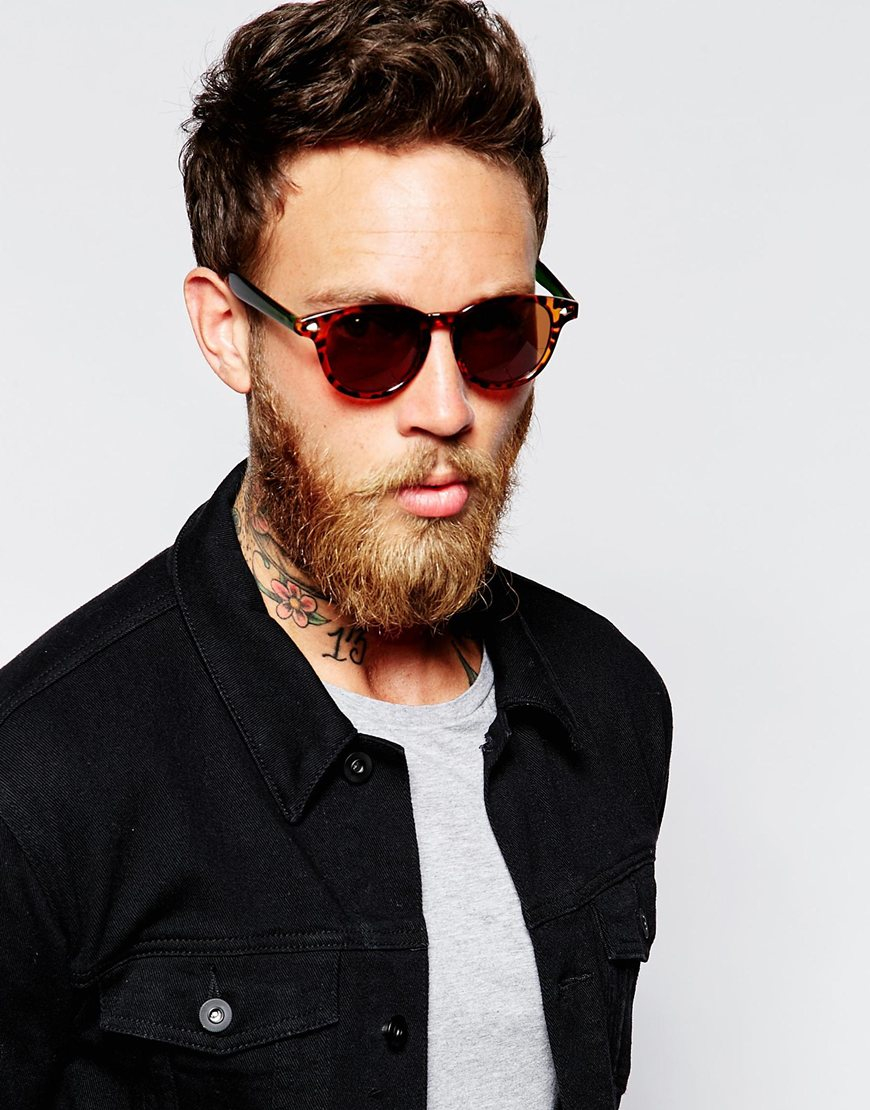 8d1a341cd6e Lyst - Asos Round Sunglasses With Contrast Arms In Tortoiseshell in Brown  for Men