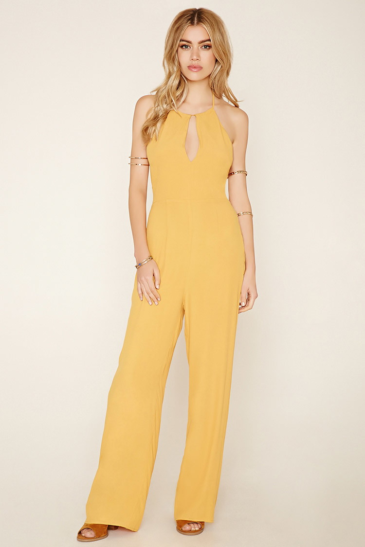 Forever 21 Lace-Up Crepe Jumpsuit in Yellow