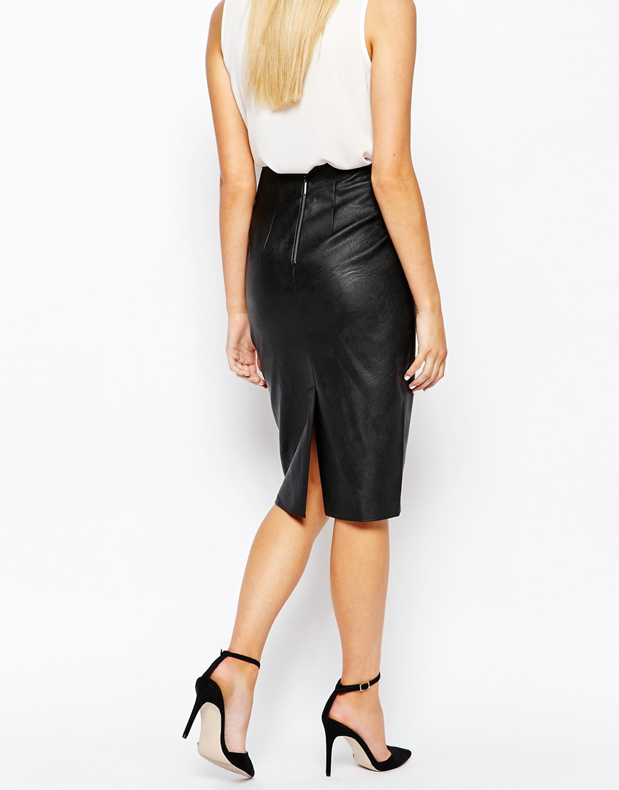 River Island Leather Look Pencil Skirt