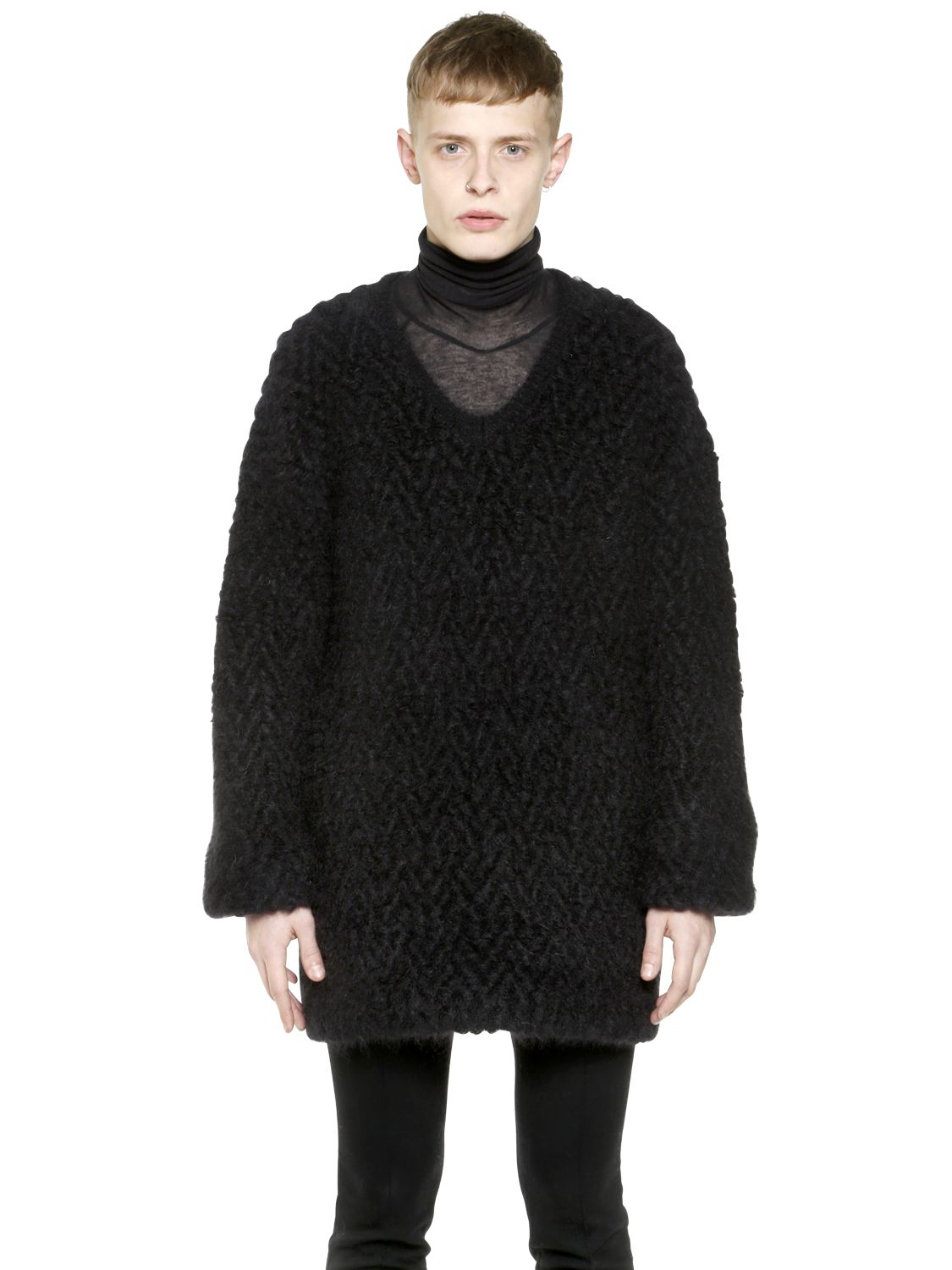 haider ackermann chunky wool mohair blend sweater in black. Black Bedroom Furniture Sets. Home Design Ideas