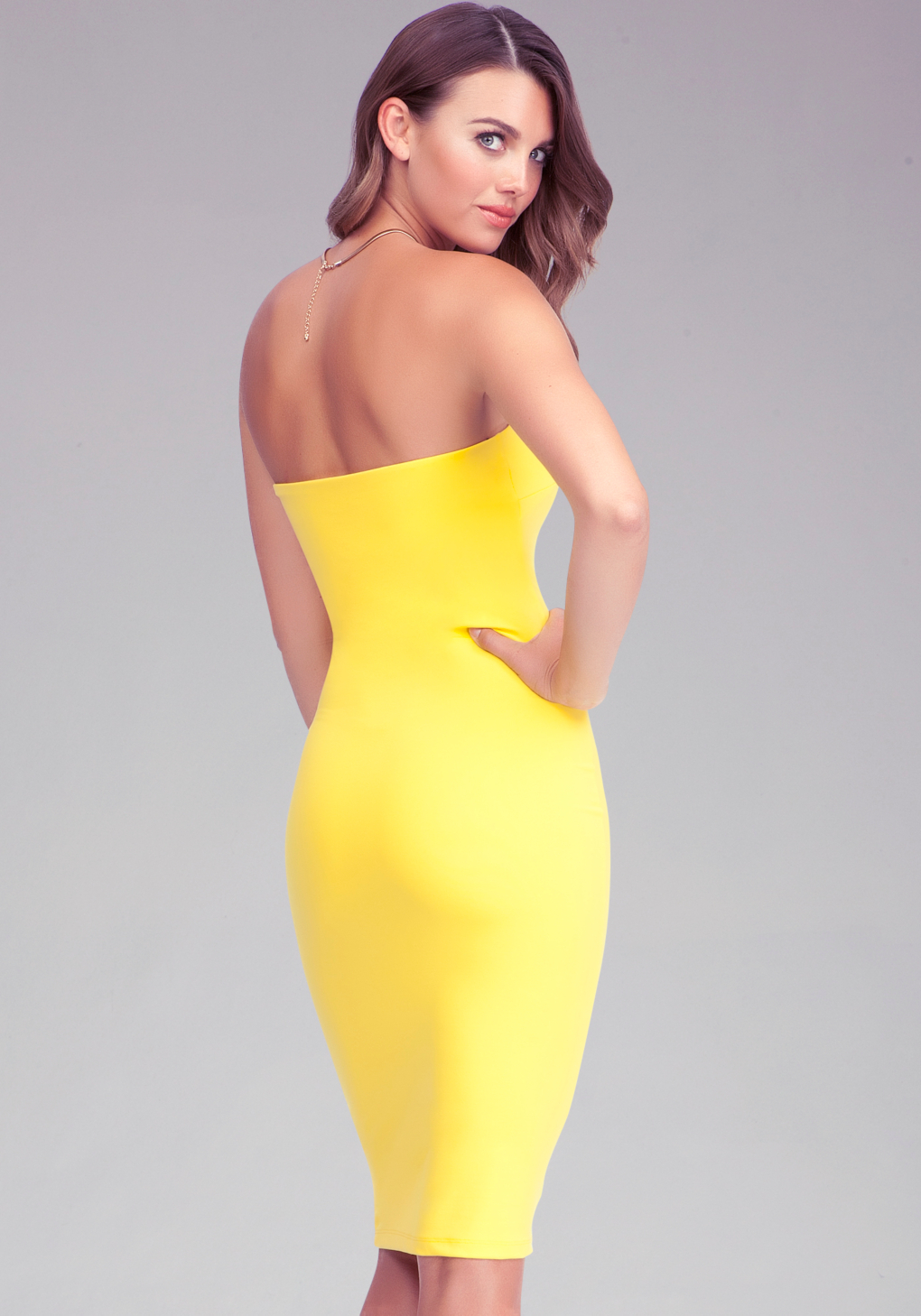 Strapless Solid Midi Dress Online Exclusive