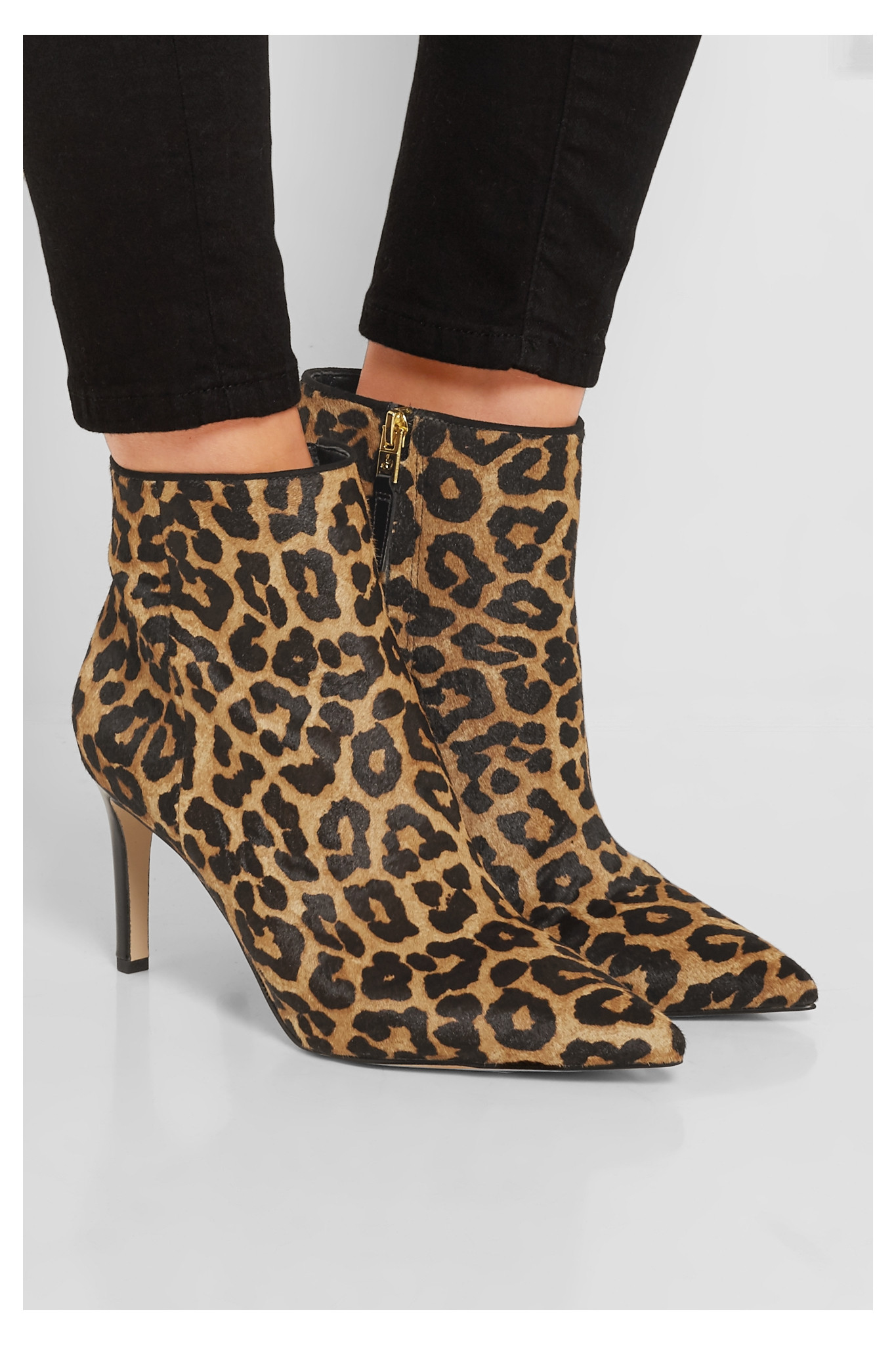 c755f629d7dd Lyst - Sam Edelman Karen Leopard-print Calf Hair Ankle Boots in Brown