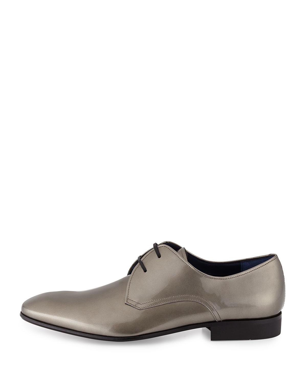 Ferragamo Marte Patent Leather Oxford Shoes In Silver | Lyst