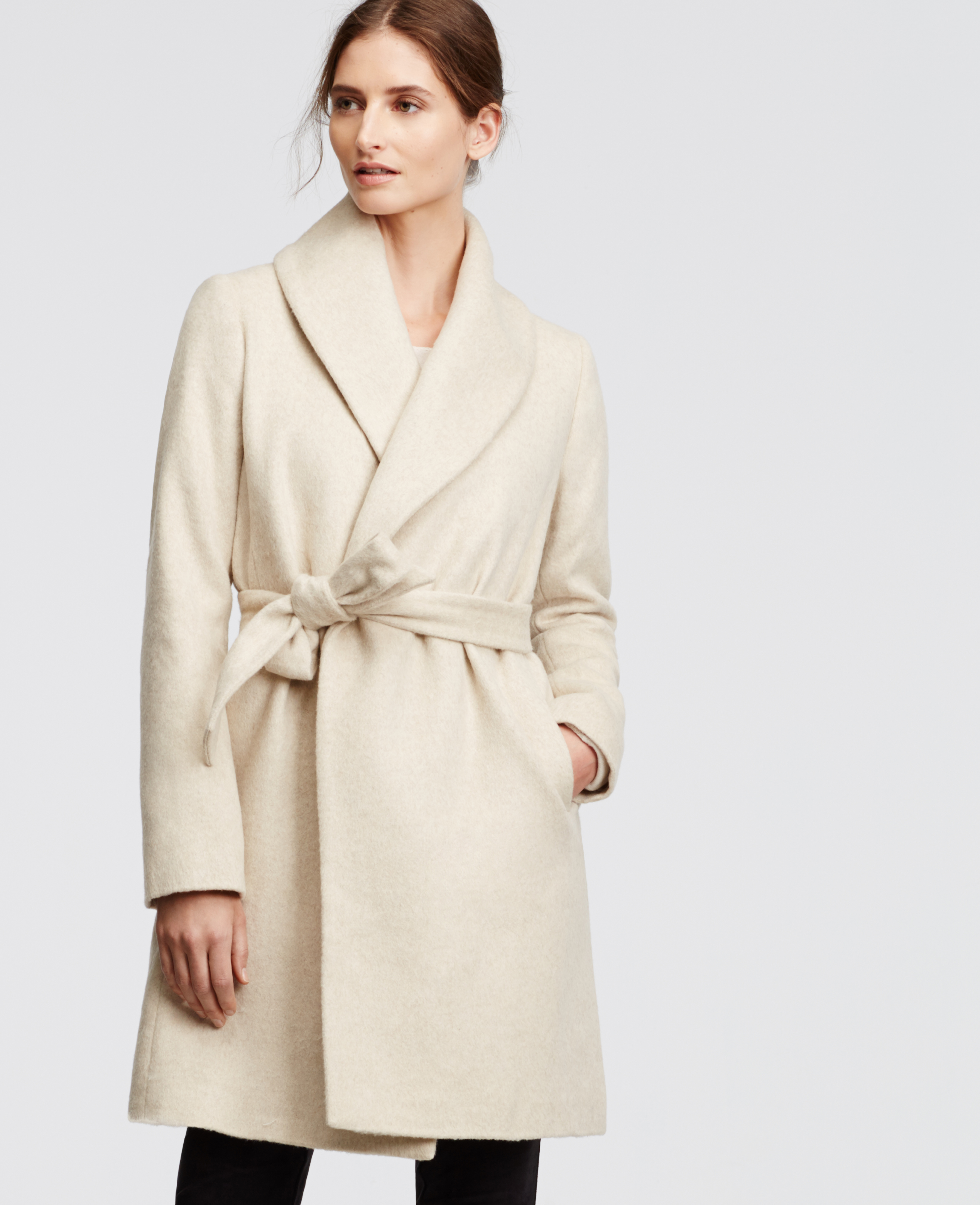 Lyst Ann Taylor Wrap Tie Coat In Natural