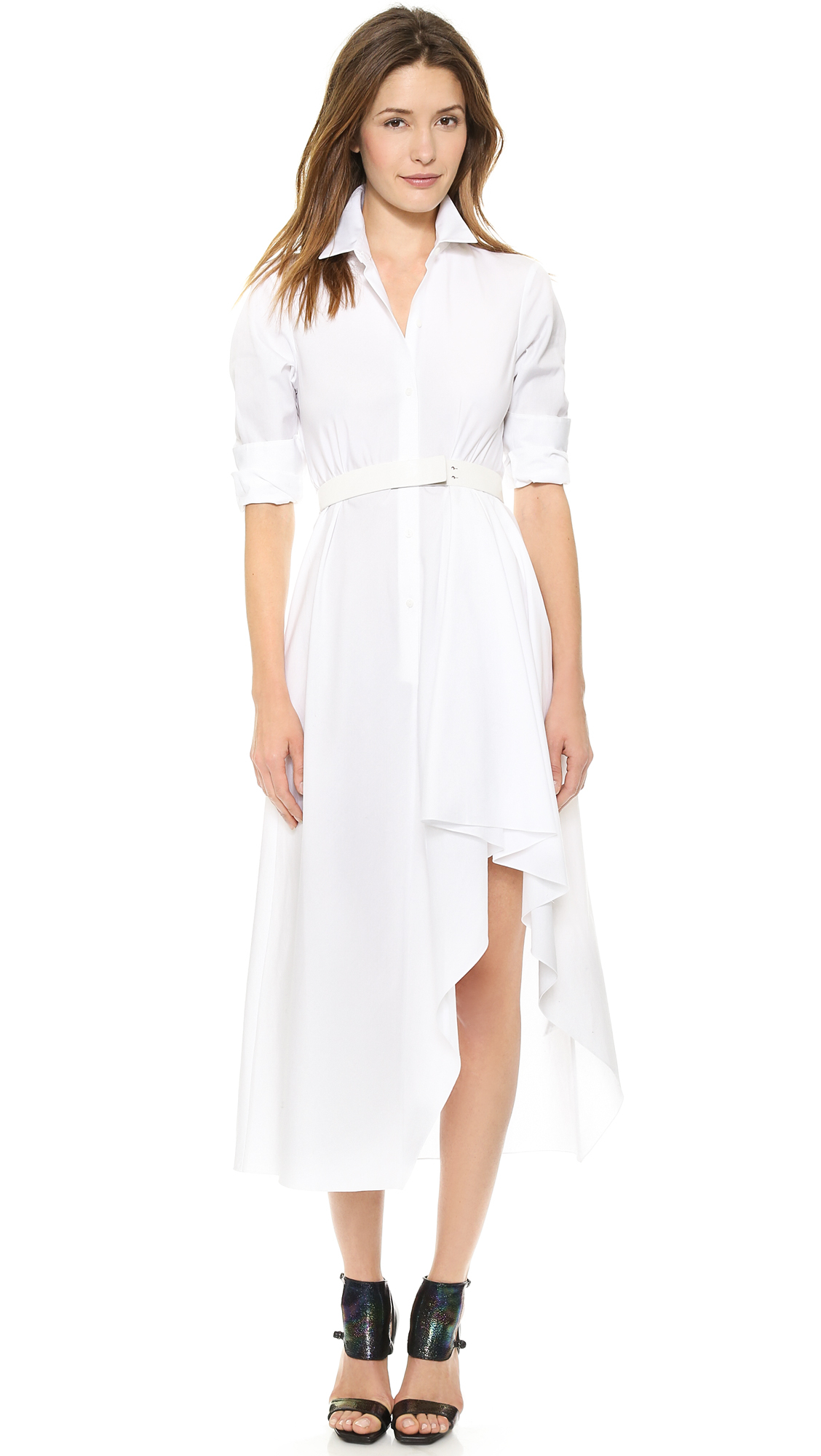 theory sartorial diaz dress white in white lyst