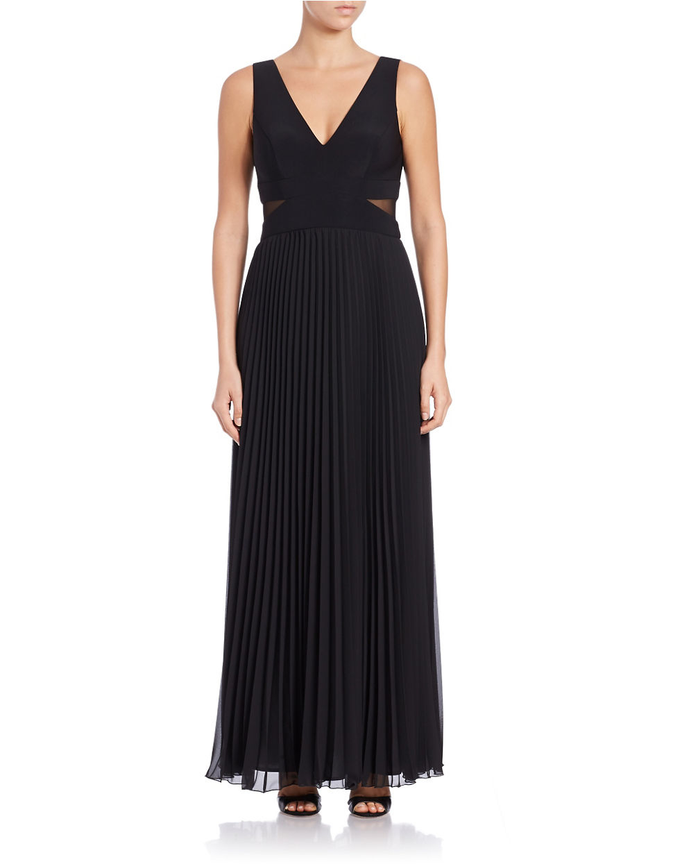 Lyst - Xscape Pleated V-neck Gown in Black
