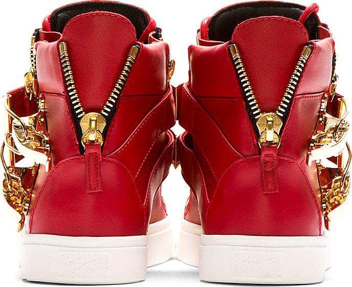 80888ecf3c8c6 Giuseppe Zanotti Red London Flip_Clasp High_Top Sneakers in Red - Lyst