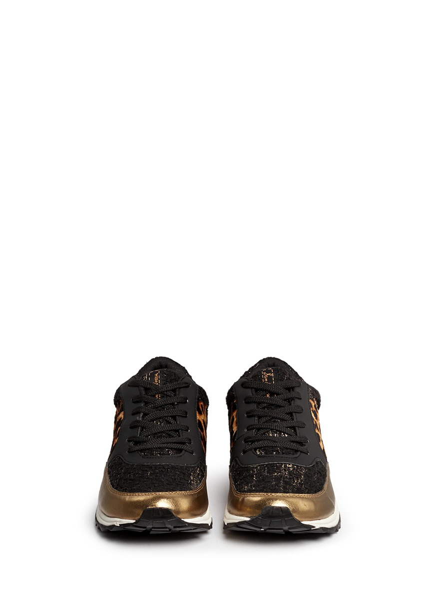Sam Edelman 'des' Metallic Leather Leopard Calf Hair Sneakers in Brown