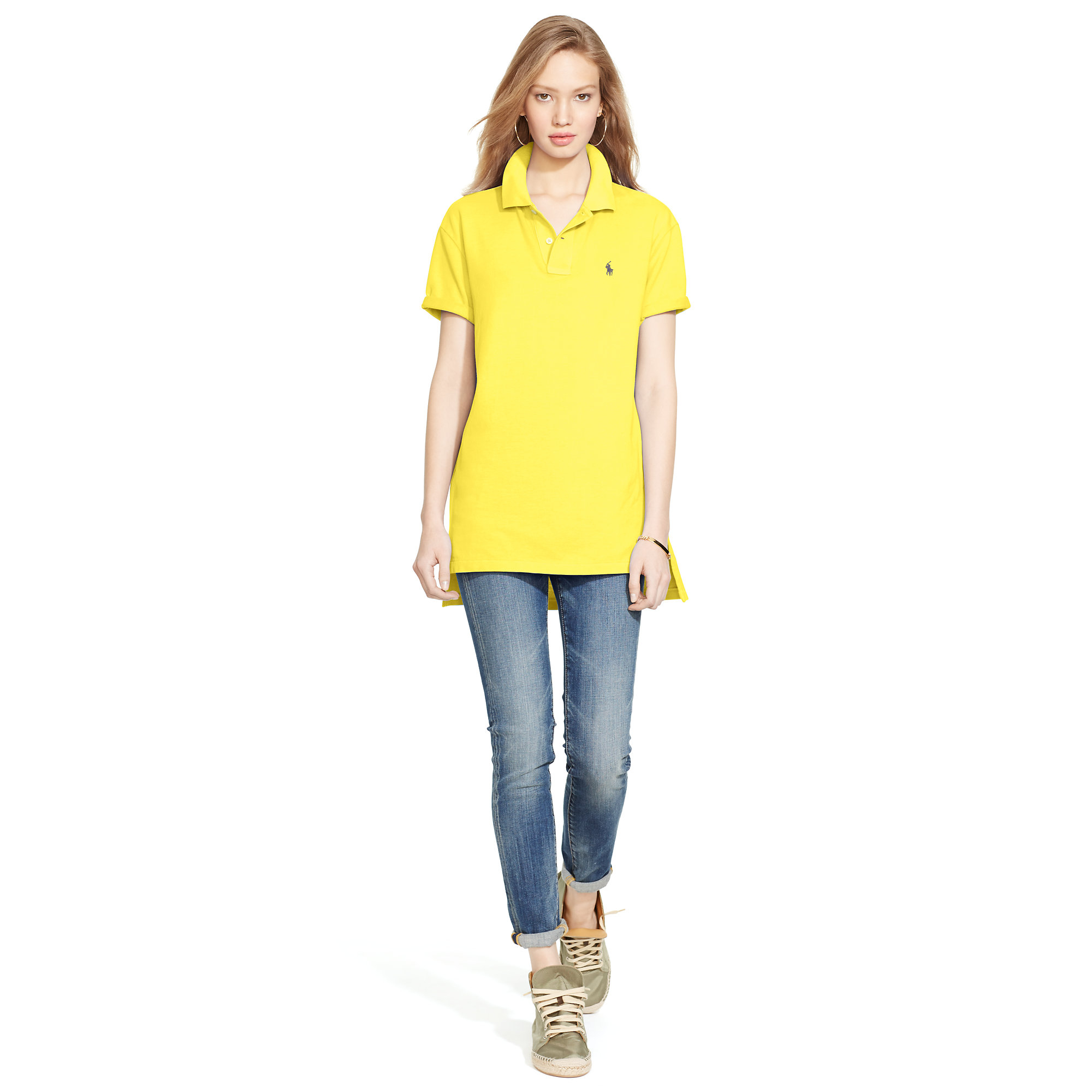 232d32ff81 Lyst - Polo Ralph Lauren Boyfriend Polo Shirt in Yellow