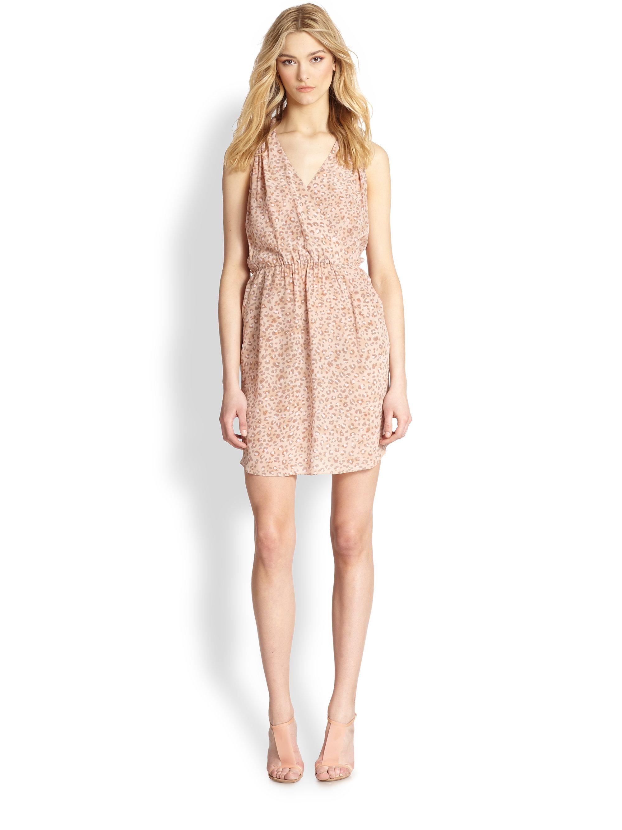 e84d6dae05 Lyst - Rebecca Taylor Silk Leopard-Print Cutout-Back Dress in Natural