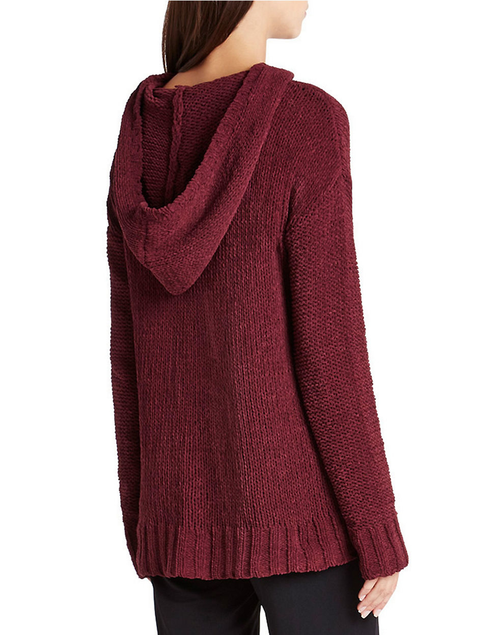Bcbgeneration Chenille Yarn Hooded Tunic Sweater in Red | Lyst