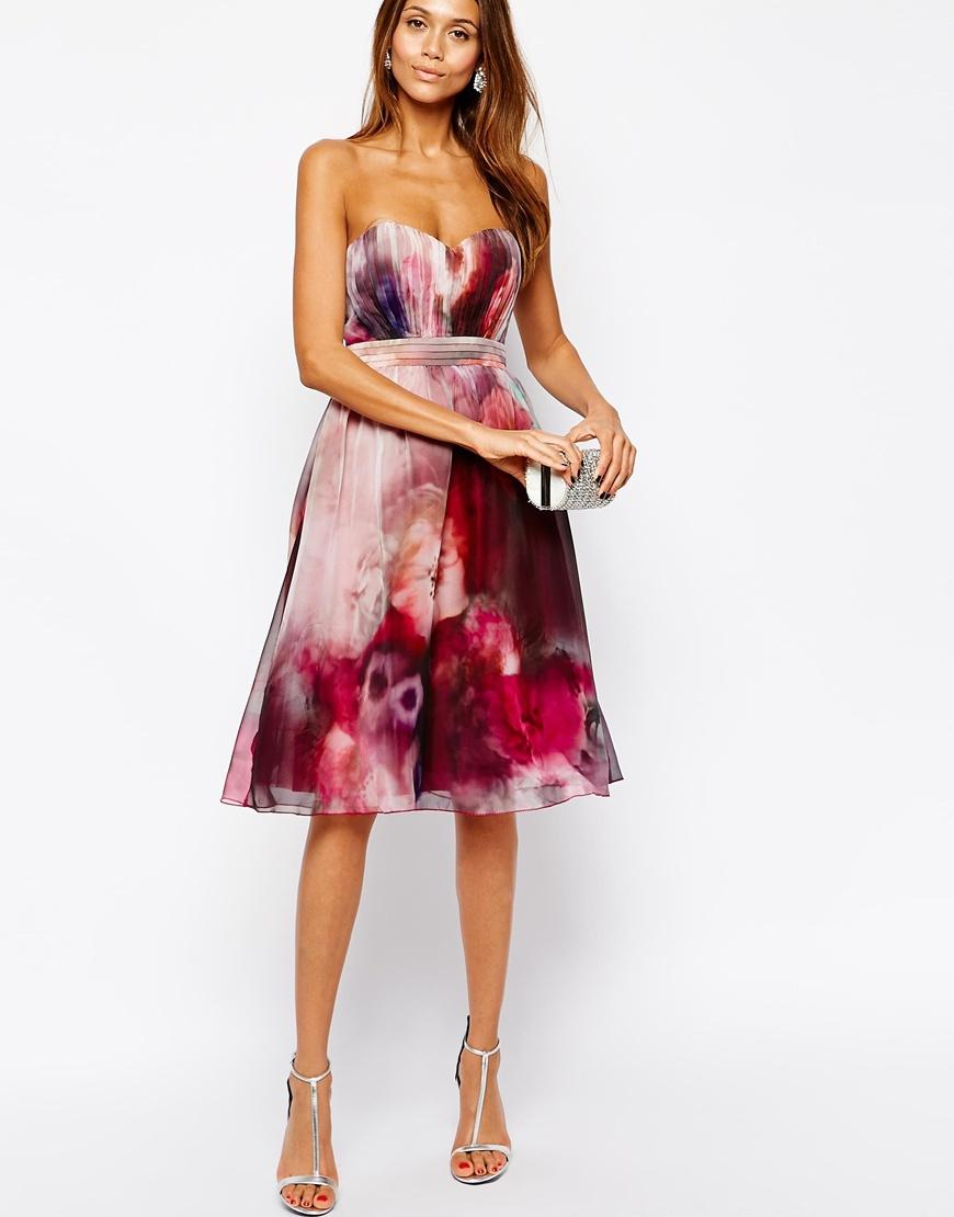 Little Mistress Bandeau Midi Prom Dress In Blurred Floral