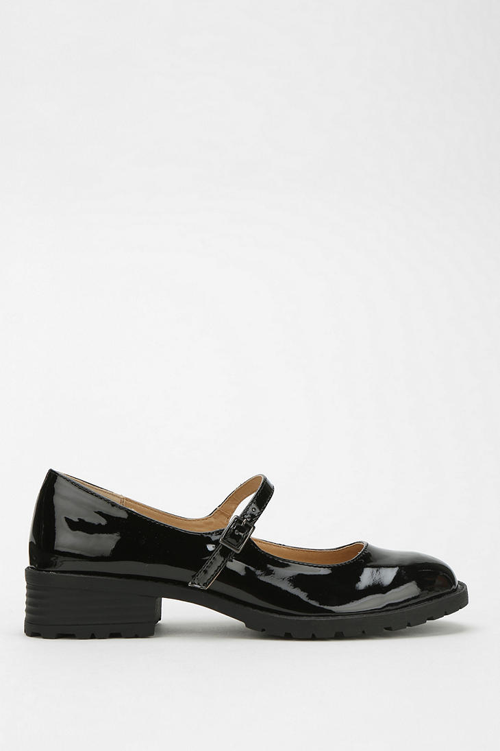 5e9b0f596e2 Lyst - Urban Outfitters Cooperative Patent Heeled Mary Jane in Black