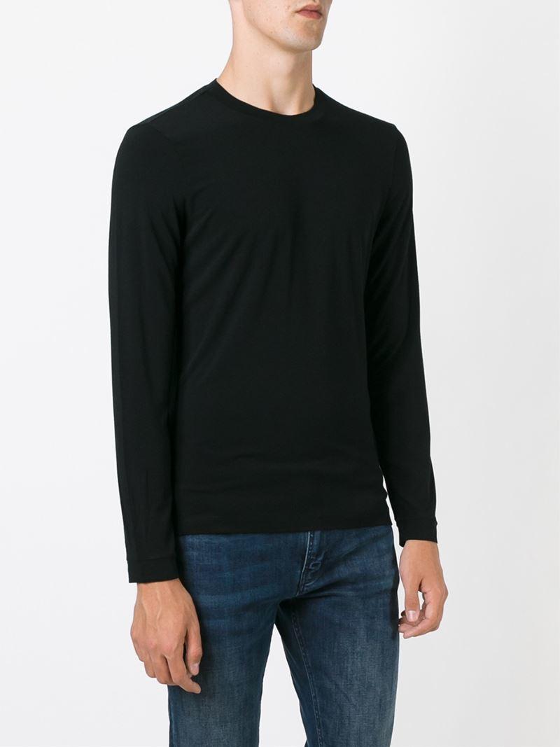 Giorgio Armani Longsleeved T Shirt In Black For Men Lyst