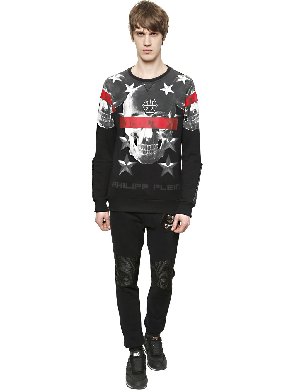 philipp plein skull printed cotton sweatshirt in black for men lyst. Black Bedroom Furniture Sets. Home Design Ideas